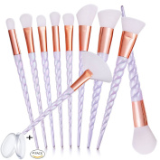 Makeup Brush Set, MYSWEETY 2017 Super Soft 10PCS Professional Foundation Unicorn Blending Cosmetic Eyeshadow Brush with 2PCS Silicone Makeup Sponge