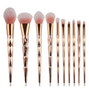 Coshine 10pcs Unicorn Shiny Gold Makeup Brush Set Professional Foundation Powder Cream Blush Brush Kits