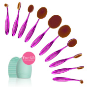 Docolor Oval Makeup Brushes Set with Cleaner Tools