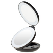 KEDSUM 1X/10X Double Sided LED Lighted Makeup Mirror- Compact Folding Vanity and Travel Mirror