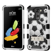 MyBat Cell Phone Case for LG K520 LS775 - Retail Packaging - Soccer Ball Collage/Black