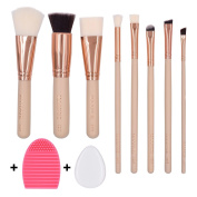 MAANGE 8+2 Makeup Brushes Set Face Eye Shadow Blush Contour Foundation Cosmetic Brushes with Silicone Makeup Puff and Brush Egg