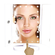 Muses Poem Lighted Vanity Mirror with 21 LED Lights Touch Screen and 3X/2X/1X Magnification White