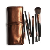 Rioa 7Pcs Professional Travel Cosmetic Makeup Make Up Brushes Set with Pouch Bag Case