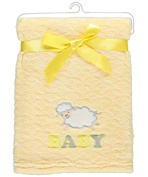 "Zak and Zoey ""Sweet Sheep"" Plush Blanket - yellow, one size"