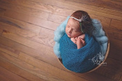 AMOS and SAWYER Teal Stretch Knit Wrap, Newborn baby layer photography prop