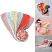 Sunmig Newborn Baby Photo Props Rainbow Wrap Photography Stretch Rug Blanket