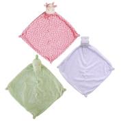 Angel Dear Bundle of 3 Blankies - Purple Hippo, Pink Giraffe and Green Dino