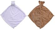 Angel Dear Bundle of 2 Blankies - Purple Hippo & Brown Bear