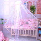 Sealive Baby Breathable Mosquito Net Toddler Kids Sleeping Bed Dome Crib Canopy Netting Palace-style Pink Cloth Edge Lace Decor for Crib Cot in Summer