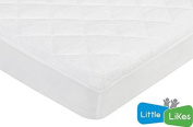 Waterproof Quilted Crib Size Fitted Mattress Cover made with Organic Bamboo, Natural Colour By Little-Likes