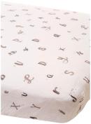 Little Unicorn Cotton Muslin Fitted Sheet - Hello Alphabet, Black, White