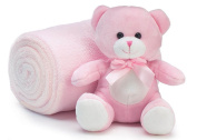 Teddy Bear 15cm Sitting with Cosy Roll of Soft Fleece Nursery Blanket 100cm x 70cm - Pink