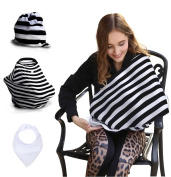 Premium Breastfeeding cover including FREE BABY BIB. Multi use - nursing privacy cover, baby grocery cart cover, baby car seat cover and fashionable nursing scarf.