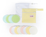 NEW - Soft Spot Nursing Pads Set - Complete with Daytime & Nighttime Breastfeeding Pads, Laundry Bag & Waterproof Storage Bag, Reusable, Washable, Velvety Soft, Hypoallergenic, 10cm - by DaffaDoot