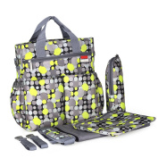 2017 New Stylish Mommy Nappy Bag, Plus Baby Changing Pad, Stroller Straps , Cute Multicoloured Dot Pattern, Insulated Bottle Holder, Tote Nappy Bag