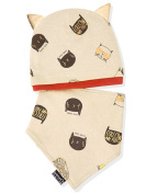 Baby Cotton Hat Bib Suits, Proboths Cute Kitty Ears Infant Toddler Baby Hat Beanies Cap with Bib Dribble Saliva Towel Suits Beige