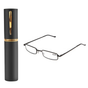 Wivily Straight Thin Stamped Metal Frame Reading Glasses With Tube Case - Yellow