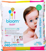Bloom Baby Sensitive Hypoallergenic All Natural Jumbo Wipes Bulk Bag 240 Count