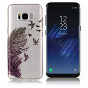 Galaxy S8 Case ,UCLL for Samsung Glaxy S8 Case New Cute Feather Design Printing Slim Soft TPU Cover for Glaxy S8 with a Screen Protector