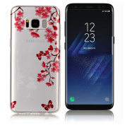 Galaxy S8 Case ,UCLL for Samsung Glaxy S8 Case New Flower Design Printing Slim Soft TPU Cover for Glaxy S8 with a Screen Protector