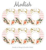 Modish Labels Baby Nursery Closet Dividers, Closet Organisers, Nursery Decor, Baby Girl, Hearts, Flowers, Pink, Stripes