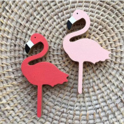 Hiltow 2 Pcs Flamingos Hanger Wooden Hooks Kids Room Wall Decoration Eco-friendly Wall Decor