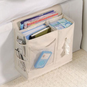 6 Pocket Bedside Storage Caddy, Book Magazine TV Remote Accessory Under Mattress Organiser Bag