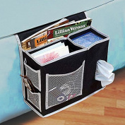 6 Pocket Bedside Storage Caddy, Book Magazine TV Remote Accessory Under Mattress Organiser Bag