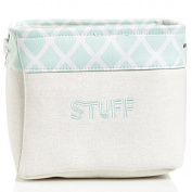 Mint Trellis Canvas Storage Bin | Toy Storage | Laundry Storage | Nursery Room Organiser
