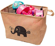 California Home Goods Toy Storage Bin, Playroom Toy Organiser, Shelf Basket for Baby's and Children's Toys, Kids Jute Baskets, Elephant