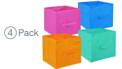 Coloured Storage Bins - Storage Cube Organiser - Small Collapsible Storage Cube (4) Closet Organisers - Storage Container With Handle - Under The Bed Storage Drawers - Colourful Storage Drawers
