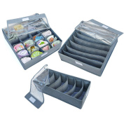 Bamboo Charcoal Non-woven Fabric Foldable Closet Organisers Drawer Organisers Storage Boxes (Set of 3) - Grey