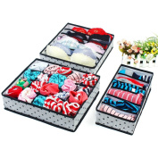 Foldable Closet Organisers Collapsible Organiser Storage Boxes (Set of 3) - Black