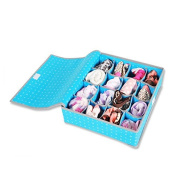 16 slots Drawer Organisers for Underwear, Bras, Socks, Ties Closet Organiser Storage Boxes with Lid, Blue