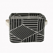 FocuH Stylish Storage Basket Cotton and Linen Fabric Mini Storage Cubes Nursery Storage Baskets with Handles for Shelves & Desks