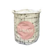 Canvas(40cm diameter14.13cm height)Cylindric Storage Bin,Household Collapsible Nursery Baskets,Toy Box,Kids Laundry Baskets,Nursery Hamper