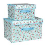 2PCS Unique Storage Laundry Basket Bags Waterproof Clothes Hamper Storage Foldable Toy Covered Organiser-Blue