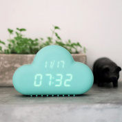 Hiltow Cute Cloud Alarm Clock ,Creative Voice/Sound Control Led clock for Students kids boys girls With Time and Temperature ,Rechargeable Always Display/Energy Saving Mode,Decoration Wall Clock,Blue