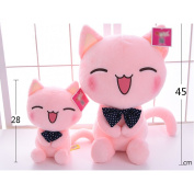 WuKong Pink Bow Tie Cat Plush Toy Smiling Face Doll Children Plush Doll (S+L