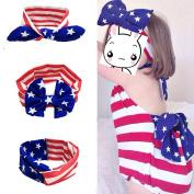 USA Flag Baby Headbands, Pattern Bowknot Elastic Cloth Headband