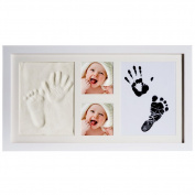 [New Version]PChero Newborn Baby Keepsake 2D & 3D Handprint and Footprint Photo Frame Kit with Safe Clays and Touch Ink Pad for Boys and Girls, Unique & Special Baby Shower Gifts for Registry