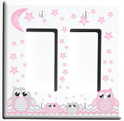 Double Rocker Grey and Pink Owl Light Switch Plate Covers and Outlet Covers / Owl Nursery Decor