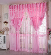 Jacquard Princess Lucky Star 4-Layer Ruffle Lace Embroidered Tulle Window Curtains Valances Panel Sheer for Living Room Bedroom Wedding Home Decor 300cm x 280cm Pink