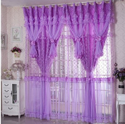 Jacquard Princess Lucky Star 4-Layer Ruffle Lace Embroidered Tulle Window Curtains Valances Panel Sheer for Living Room Bedroom Wedding Home Decor 300cm x 280cm Purple