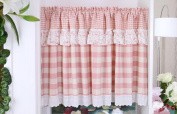 Red Checked Lace Printed Window Curtain Valance Tier Pair Curtain Sheer 140cm x 60cm