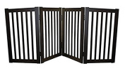 WELLAND Wood Freestanding Pet Gate with A Pair of Feet, 180cm , Espresso