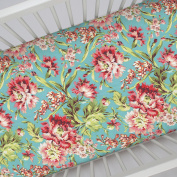 Carousel Designs Coral and Teal Floral Crib Sheet