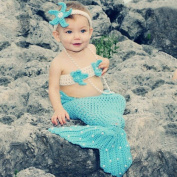 Baby Photography Prop Crochet Knit Mermaid Newborn Hairband Bra Tail Outfit Costume Set for 0-12 Months