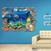 Hatop Kid Room Sea Whale Fish 3D Wall Stickers For Kids Room Removable Decoration DIY PVC Sticker
